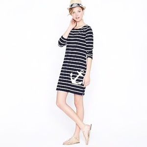 J Crew Maritime Anchor Dress Navy White Size Small
